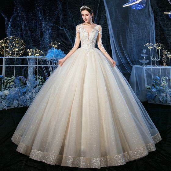 Luxury / Gorgeous Champagne See-through Outdoor / Garden Wedding Dresses 2020 Ball Gown V-Neck 3/4 Sleeve Backless Appliques Lace Beading Glitter Tulle Floor-Length / Long Ruffle