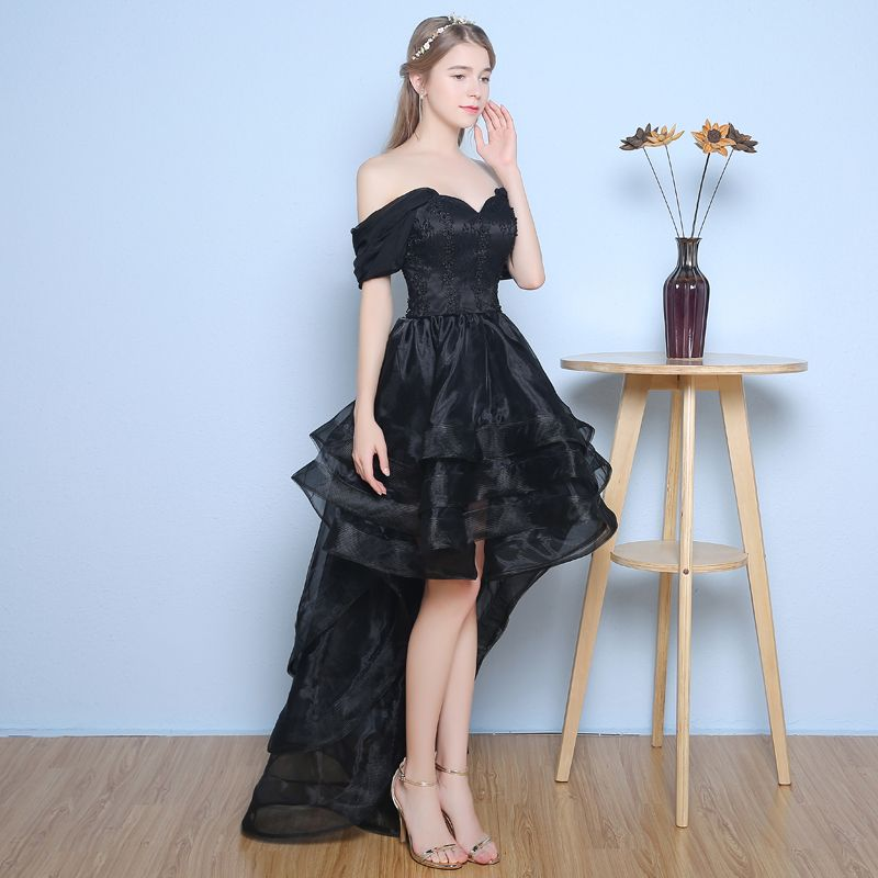 Chic / Beautiful Formal Dresses 2017 Cocktail Dresses Black A-Line / Princess Asymmetrical Cascading Ruffles Off-The-Shoulder Backless Sleeveless Lace Appliques Pearl