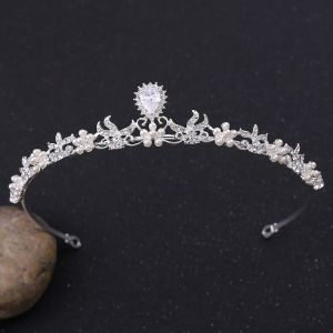 Elegante Silber Diadem Haarschmuck Braut  2020 Legierung Zirkon Perle Hochzeit Brautaccessoires
