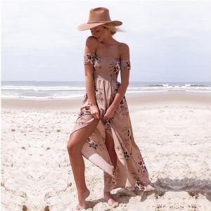 Moderne / Mode Rougissant Rose Thé Longueur Robes longues 2018 Princesse Chiffon Brodé Impression Bustier Plage Vêtements Femme