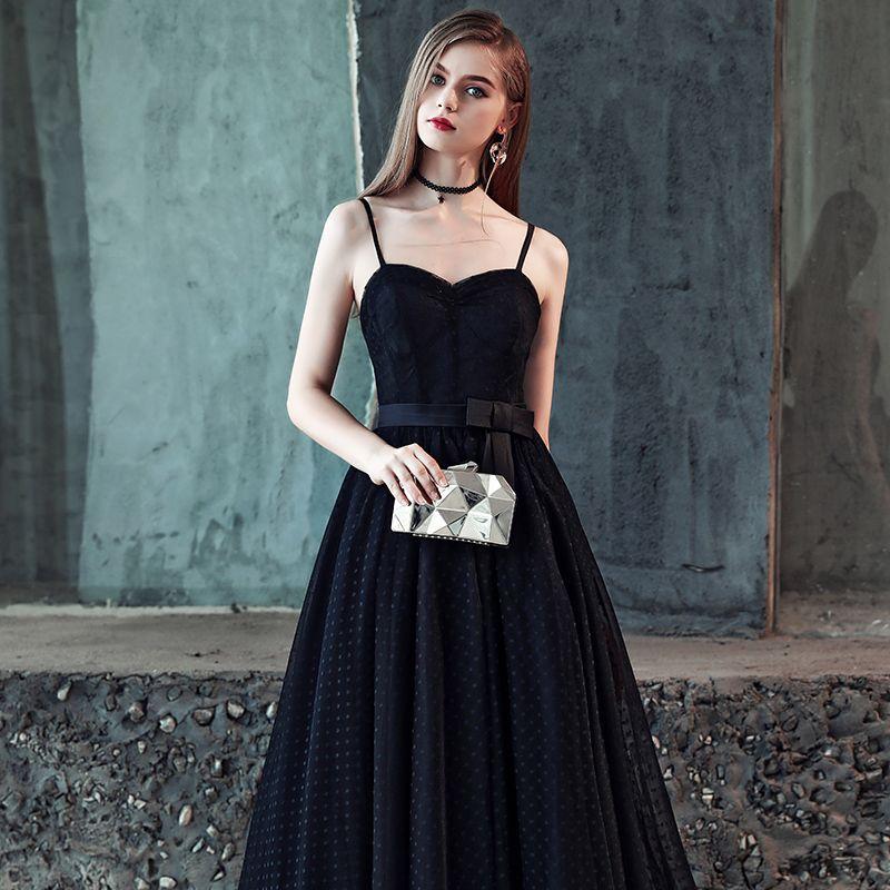 Abordable Noire Robe De Bal 2019 Princesse Bretelles Spaghetti Sans Manches Noeud Ceinture Tachetée Tulle Longue Volants Dos Nu Robe De Ceremonie