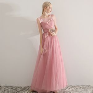Romantic Candy Pink See-through Evening Dresses  2019 A-Line / Princess Scoop Neck Short Sleeve Feather Beading Floor-Length / Long Ruffle Backless Formal Dresses