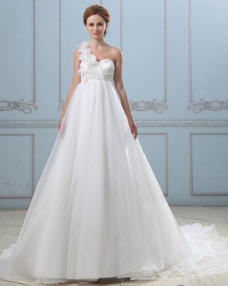 Koronki Jedno Ramie Staly Sie Z Powrotem Satyna Organzy Suknia Balowa Suknie Ślubne Suknia Ślubna