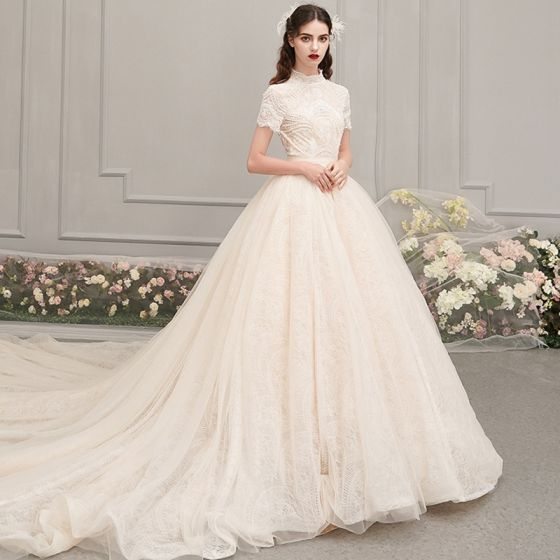 Vintage / Retro Champagne Wedding Dresses 2019 A-Line / Princess High Neck Short Sleeve Backless Beading Pearl Sash Cathedral Train Ruffle