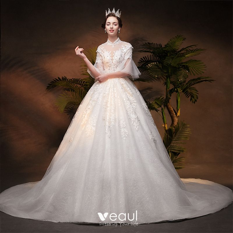 Vintage / Retro Ivory See,through Wedding Dresses 2019 A,Line / Princess  High Neck Bell sleeves Backless Appliques Lace Beading Glitter Tulle Chapel