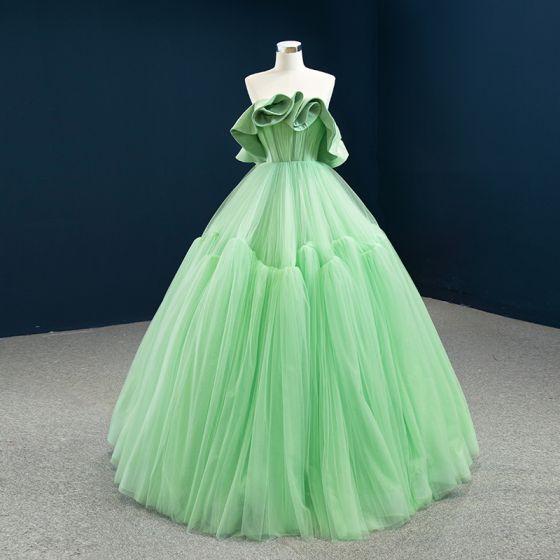 High-end Green Prom Dresses 2020 Ball Gown Strapless Sleeveless Floor-Length / Long Ruffle Backless Formal Dresses