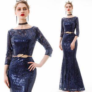 Affordable Navy Blue Sequins Evening Dresses  2019 Trumpet / Mermaid 3/4 Sleeve Square Neckline Metal Sash Floor-Length / Long Formal Dresses