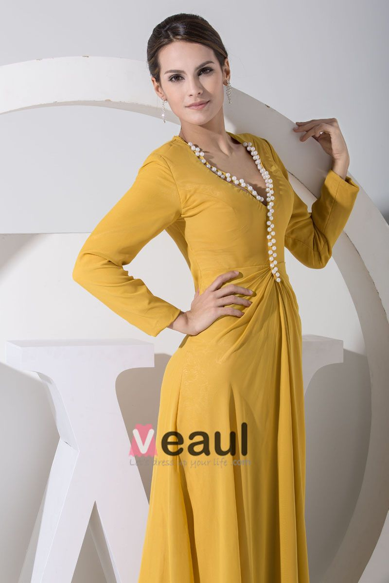Chiffon Silk Beading V Neck Long Sleeve Mother of the Bride Dress