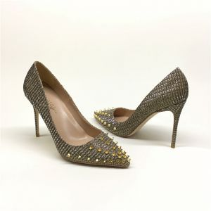 Charming Champagne Evening Party Pumps 2020 Rivet 12 cm Stiletto Heels Pointed Toe Pumps