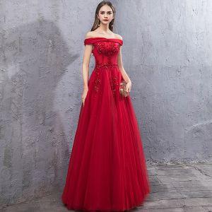 Schöne Rot Abendkleider 2019 A Linie Off Shoulder Kurze Ärmel Applikationen Spitze Perlenstickerei Pailletten Lange Rüschen Rückenfreies Festliche Kleider