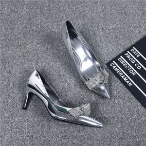 Modern / Fashion Silver Evening Party Pumps 2019 Leather Rhinestone Bow 6 cm Stiletto Heels Pointed Toe Pumps