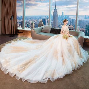 Chic / Beautiful White Wedding Dresses 2018 Ball Gown Off-The-Shoulder Short Sleeve Backless Gold Appliques Lace Beading Cathedral Train Ruffle