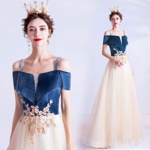 Elegant Navy Blue Prom Dresses 2020 A-Line / Princess Suede Spaghetti Straps Beading Sequins Lace Flower Short Sleeve Backless Floor-Length / Long Formal Dresses