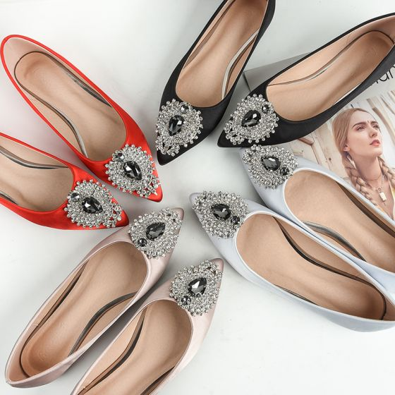 Chic / Beautiful Red Leather Crystal Wedding Shoes 2019 Rhinestone Flat Pointed Toe Wedding