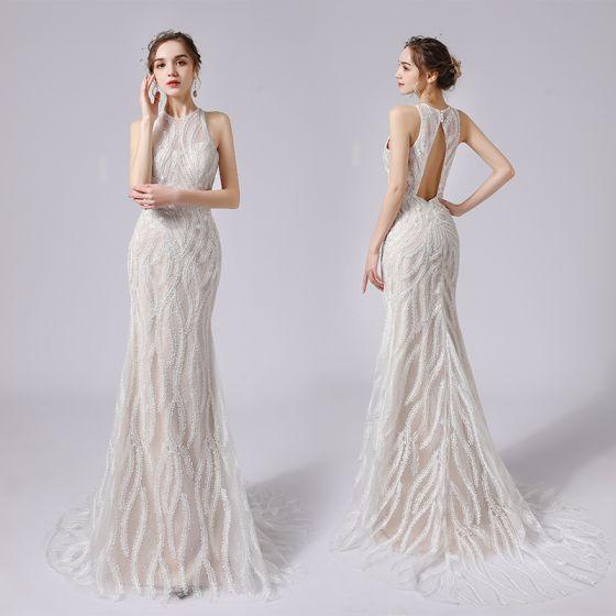 Sexig Champagne Spets Blomma Bröllopsklänningar 2021 Trumpet / Sjöjungfru Urringning Ärmlös Halterneck Svep Tåg Bröllop