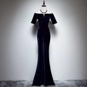 Modern / Fashion Navy Blue Suede Winter Evening Dresses  2018 Trumpet / Mermaid See-through Scoop Neck Short Sleeve Rhinestone Floor-Length / Long Formal Dresses