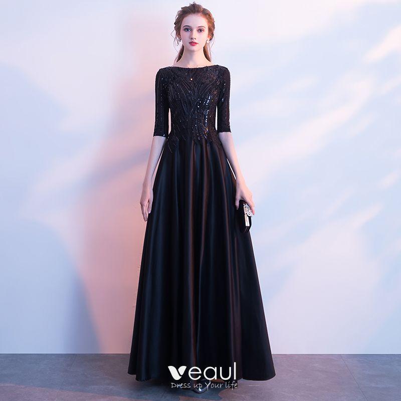 Sencillos Negro Largos Vestidos De Noche 2018 A Line Princess Charmeuse U Escote Rebordear Lentejuelas Noche Vestidos Formales