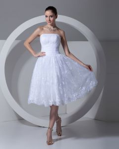 Lace Satin Flower Ruffle Strapless Tea Length Pleated Mini Wedding Dress