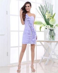 Une Epaule Perlage Longueur Mini Mousseline De Soie Robe De Fete De Cocktail Fleur Plissee Sans Manches Zippee Femme