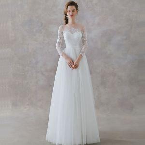 Elegante Ivory / Creme Spitze Strand Durchsichtige Brautkleider / Hochzeitskleider 2019 A Linie Eckiger Ausschnitt 3/4 Ärmel Stoffgürtel Lange Rüschen