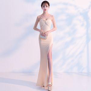 Stylowe / Modne Szampan Przezroczyste Sukienki Wieczorowe 2019 Syrena / Rozkloszowane V-Szyja Długie Rękawy Podział Przodu Długie Wzburzyć Bez Pleców Sukienki Wizytowe