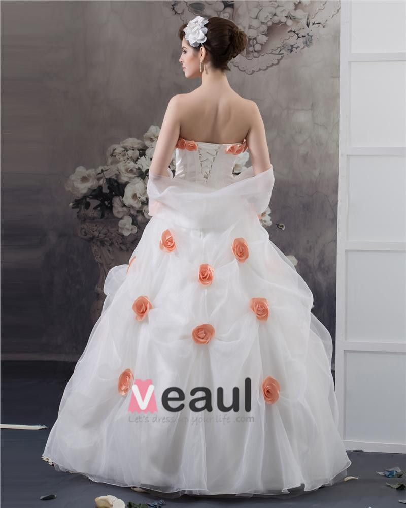 Ball Gown Satin Organza Flower Strapless Floor Length Quinceanera Prom Dress