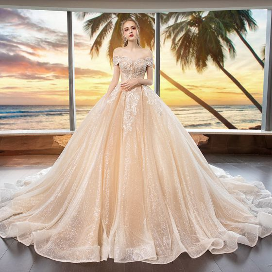 43b81c09551 Bling Bling Champagne Wedding Dresses 2019 Ball Gown Off-The-Shoulder Short  Sleeve Backless Appliques Lace Beading Glitter Tulle Cathedral Train Ruffle
