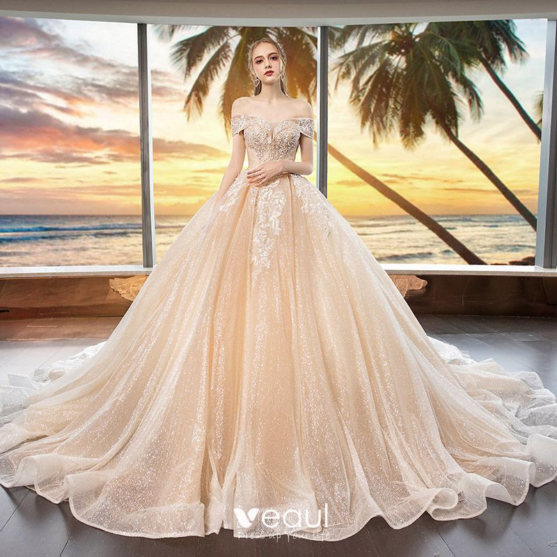 87c9463956 Bling Bling Champagne Wedding Dresses 2019 Ball Gown Off-The ...