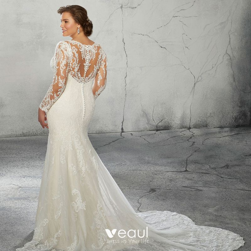 Luxury / Gorgeous Ivory Plus Size Wedding Dresses 2020 Trumpet / Mermaid  V-Neck Long Sleeve 3D Lace Appliques Backless Handmade Court Train Wedding