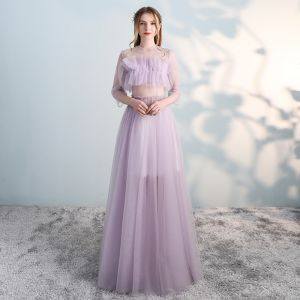 Amazing / Unique Blushing Pink Prom Dresses 2018 A-Line / Princess Scoop Neck 3/4 Sleeve Floor-Length / Long Formal Dresses