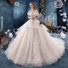 Fabulous Ivory Wedding Dresses 2019 A-Line / Princess V-Neck Pearl Appliques Lace Flower Short Sleeve Backless Royal Train