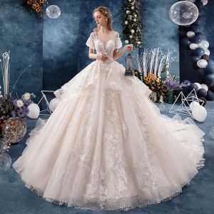 Fabulous Ivory Wedding Dresses 2019 A-Line / Princess V-Neck Pearl Appliques Lace Flower Short Sleeve Backless Royal Train