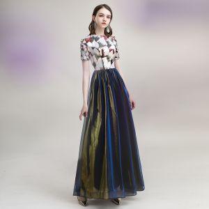 Elegant Bronze Royal Blue Evening Dresses  2020 A-Line / Princess Scoop Neck Sequins Short Sleeve Floor-Length / Long Formal Dresses