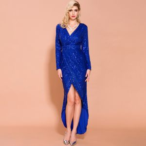 Sparkly Royal Blue Sequins Evening Dresses  2020 Trumpet / Mermaid Deep V-Neck Long Sleeve Split Front Ankle Length Formal Dresses