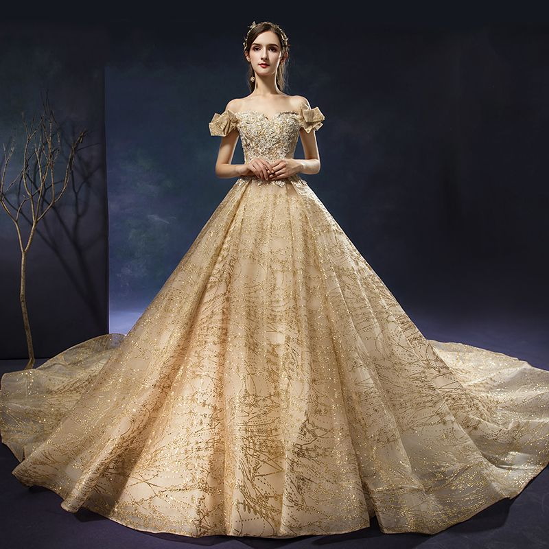 Luxury / Gorgeous Champagne Wedding Dresses 2019 A-Line / Princess Off-The-Shoulder Beading Pearl Sequins Lace Flower Short Sleeve Backless Royal Train