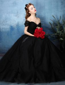 2338fea4184 Beautiful Simple Ball Gown Off The Shoulder Sweetheart Black Tulle Prom Dress  2016 With Bow Sash