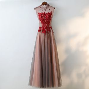 Chic / Beautiful Brown Evening Dresses  2017 A-Line / Princess Lace Flower Crystal Artificial Flowers High Neck Backless Sleeveless Ankle Length Evening Party