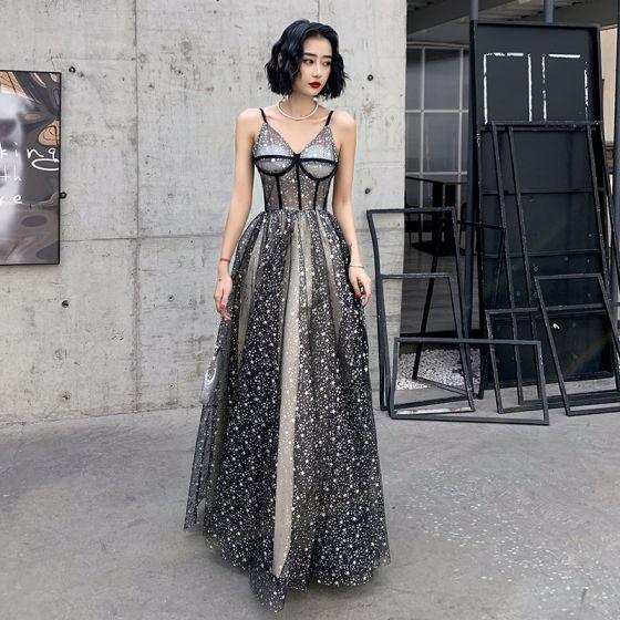 Sexy Black Gold See-through Evening Dresses  2020 Ball Gown Spaghetti Straps Sleeveless Glitter Star Floor-Length / Long Ruffle Backless Formal Dresses