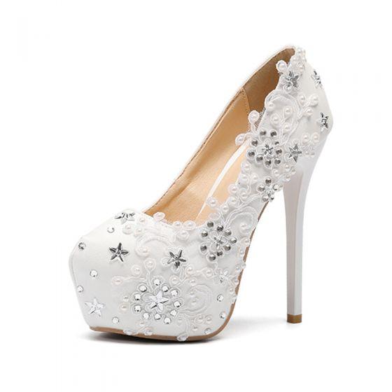 Moda Marfil Zapatos de novia 2020 Rhinestone Con Encaje Flor 14 cm Stilettos / Tacones De Aguja Punta Redonda Boda Tacones