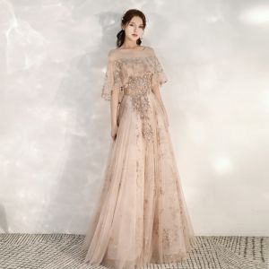 Chic / Beautiful Champagne Evening Dresses  2020 A-Line / Princess See-through Square Neckline 1/2 Sleeves Beading Appliques Sequins Floor-Length / Long Ruffle Backless Formal Dresses