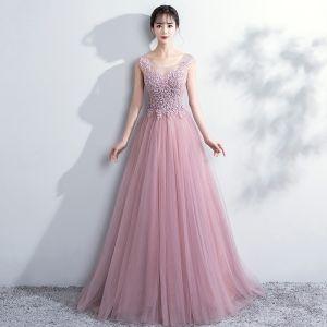 Elegante Rosa Ballkleider 2018 A Linie Mit Spitze Blumen Rundhalsausschnitt Rückenfreies Ärmellos Lange Festliche Kleider