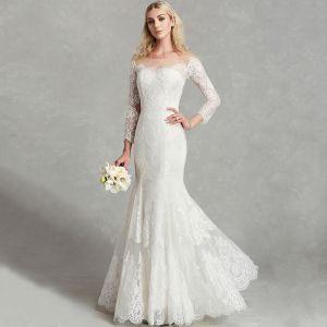 Unique Sexy Weiß Brautkleider / Hochzeitskleider 2020 Meerjungfrau U-Ausschnitt 3D Spitze Lange Lange Ärmel Handgefertigt Stickerei Hochzeit