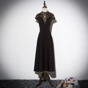 Vintage / Originale Noire Robe De Soirée 2019 Princesse Col Haut Mancherons Glitter Paillettes Thé Longueur Volants Robe De Ceremonie