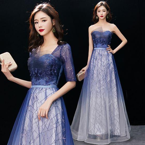 Affordable Royal Blue Gradient-Color Evening Dresses  2019 A-Line / Princess Square Neckline 1/2 Sleeves Appliques Lace Glitter Sequins Floor-Length / Long Ruffle Backless Formal Dresses