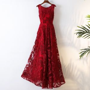 Chic / Beautiful Chinese style Red Evening Party 2017 A-Line / Princess Scoop Neck Sleeveless Zipper Up Braid Lace Tea-length Tulle