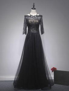 Elegante Abendkleider 2017 Quadratische Ausschnitt Schwarze Wimpernspitze Mit Goldsequins Kleid