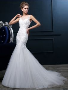 Mermaid Quadratischen Ausschnitt Backless Spitze Tüll Hochzeitskleid
