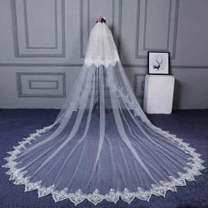 Modest / Simple White Cathedral Train Wedding Lace Tulle Appliques Wedding Veils 2018