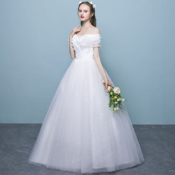 Affordable White Wedding Dresses 2018 Ball Gown Lace Off-The-Shoulder Backless Short Sleeve Floor-Length / Long Wedding
