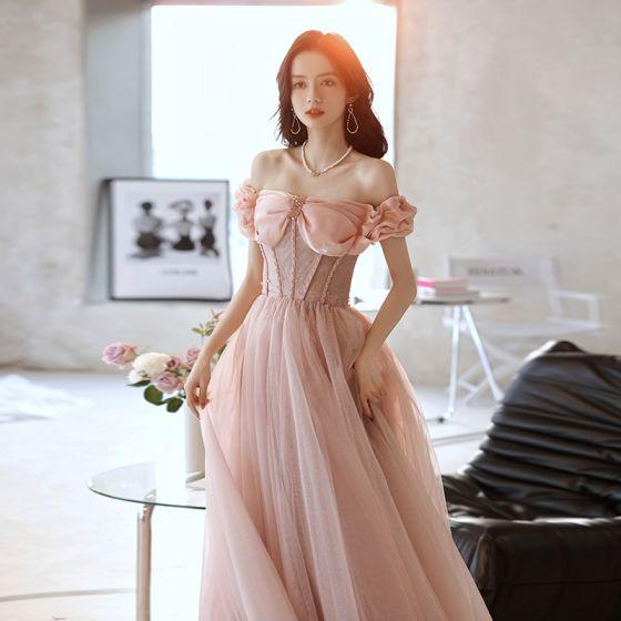 Encantador Rosa Clara Vestidos de gala 2021 A-Line / Princess Fuera Del Hombro Sin Mangas Sin Espalda Crystal Largos Gala Vestidos Formales
